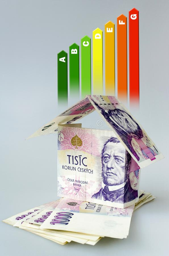 Energy efficiency label for house / heating and money savings - house made of Czech crown currency banknotes. On the grey background royalty free stock photo