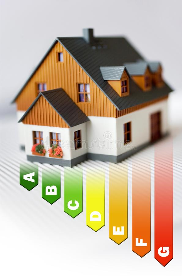 Energy efficiency label for house / heating and money savings - model of a family house stock photos