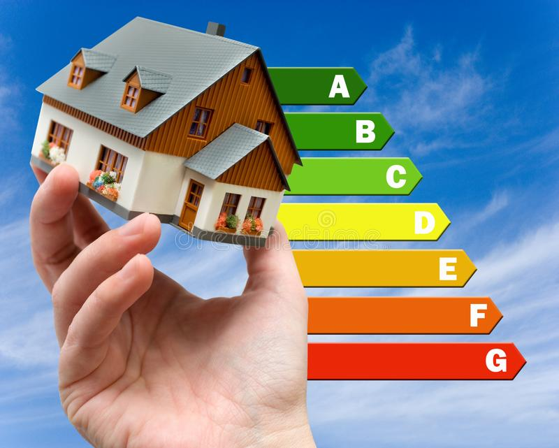 Energy efficiency label for house / heating and money savings - model of a house in a hand royalty free stock photo