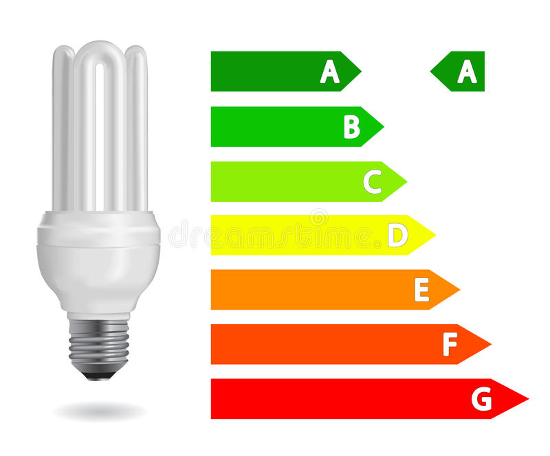 Energy efficiency light bulb stock illustration