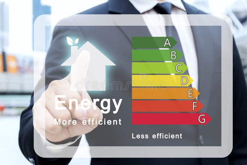 Energy efficiency rating of buildings for sustainable development stock image
