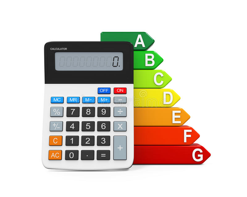 Energy Efficiency Rating and Calculator. Isolated on white background. 3D render stock illustration