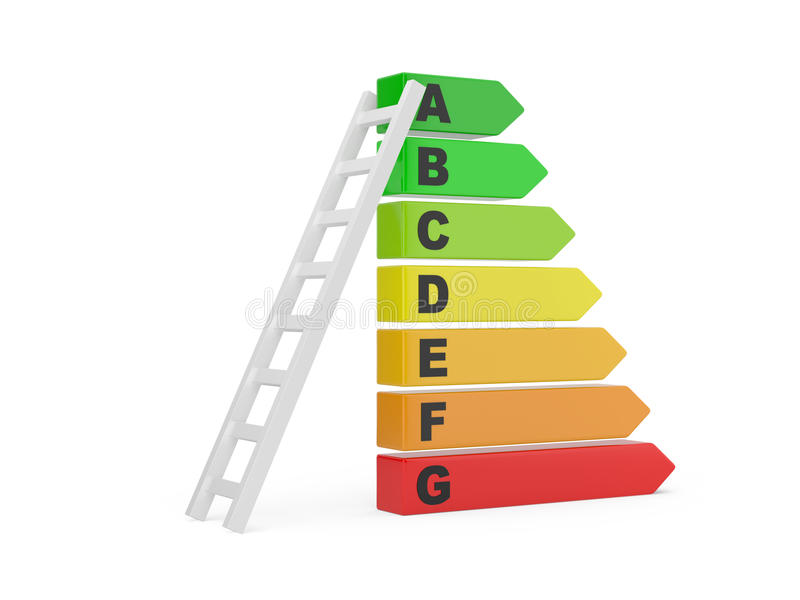 Download Energy Efficiency Rating With Ladder Stock Illustration - Image: 26537509