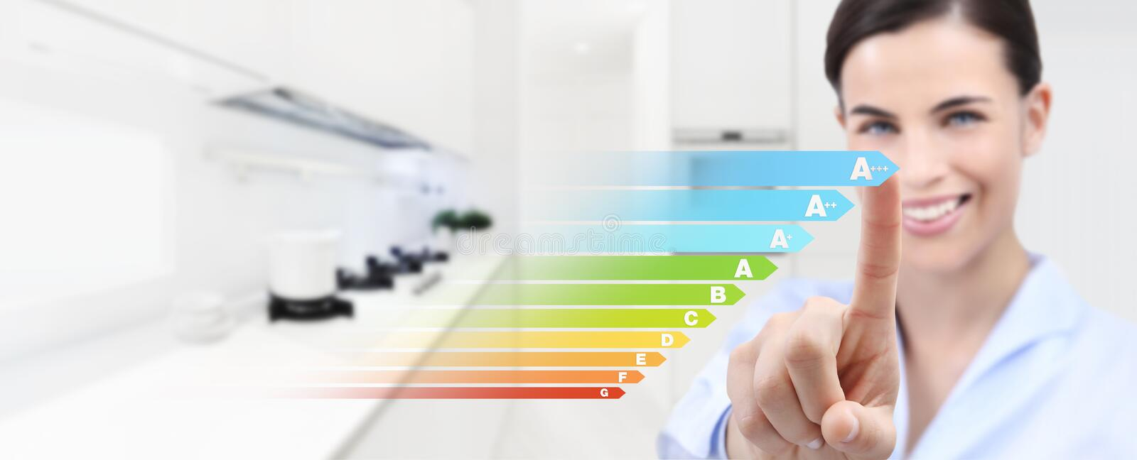 Energy efficiency smiling woman hand touch screen with colored s royalty free stock photo