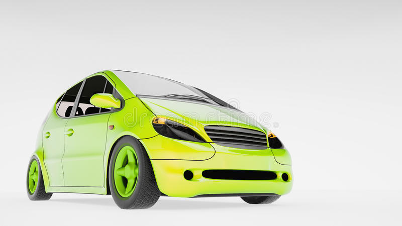 Energy efficient automobiles. 3d and illustration stock illustration