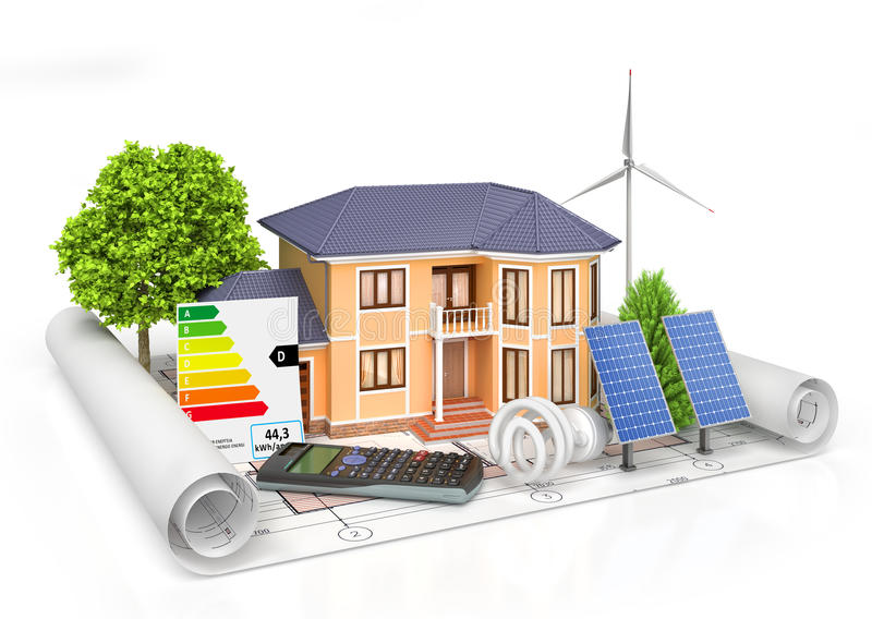 Energy efficient construction. House with calculator, solar panel, wind power plant and economical lamp on a blueprint. 3d illustration royalty free illustration