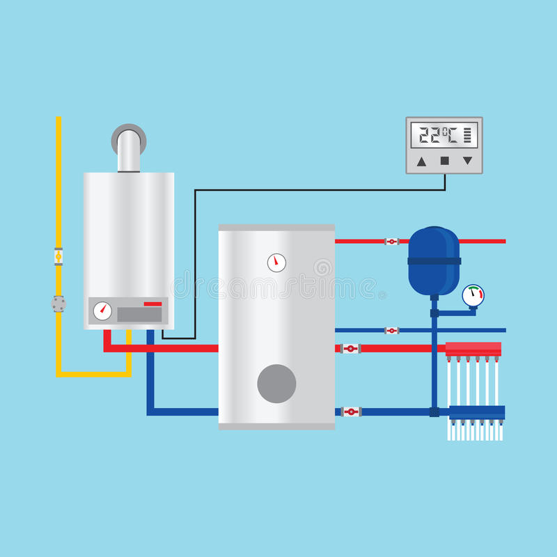 Energy efficient heating system with thermostat. Vector vector illustration