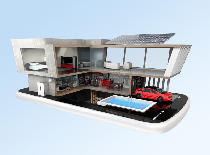 Energy-Efficient house on a smart phone. Energy-Efficient house equipped with solar panels, energy saving appliances on a smart phone. automation home vector illustration
