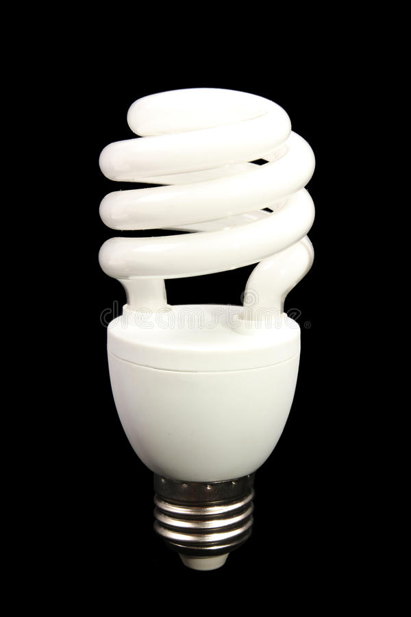 Free Energy Efficient Light Bulb On Black Background - Series 2 Royalty Free Stock Photography - 58201977