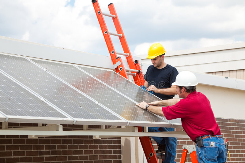 Energy Efficient Solar Panels royalty free stock image