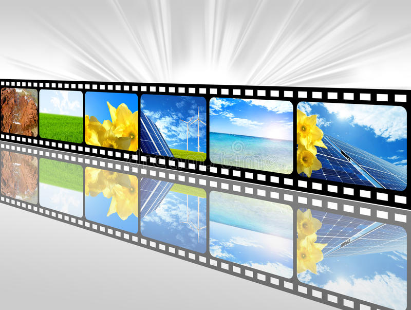 Energy film. Film of global concept for green energy solutions royalty free illustration