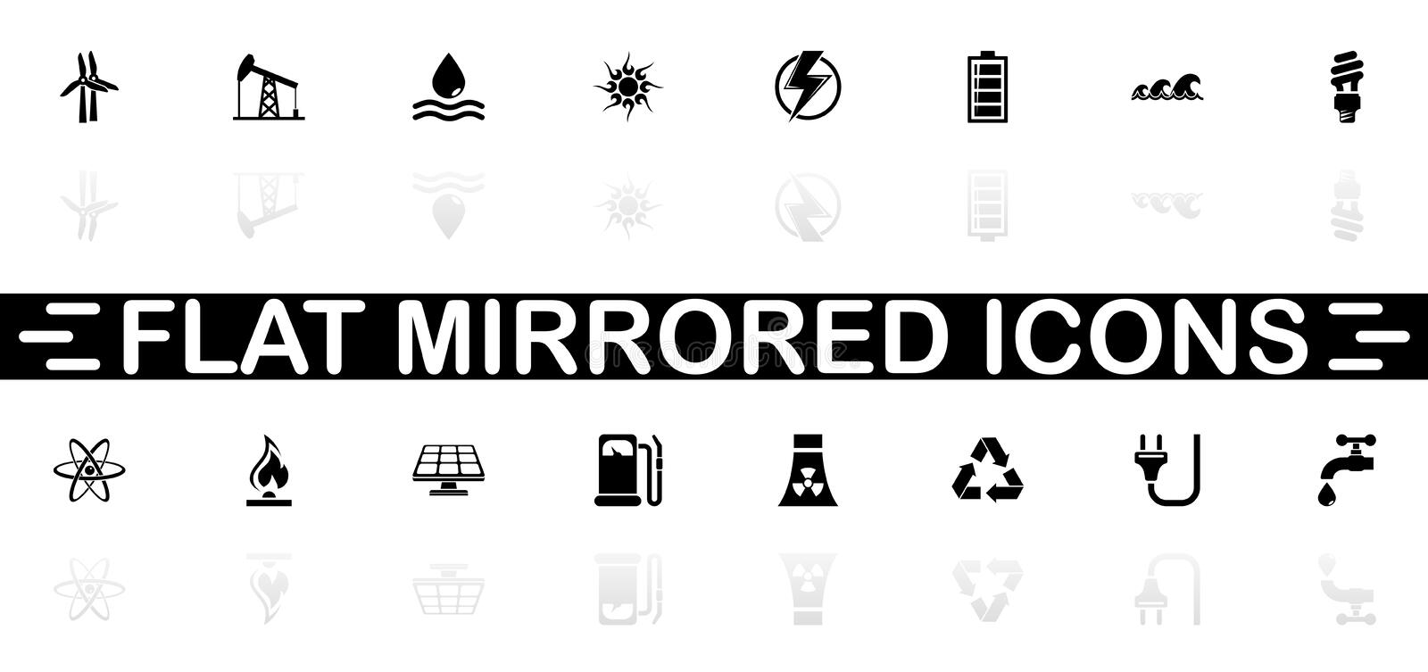 Energy - Flat Vector Icons. Energy icons - Black symbol on white background. Simple illustration. Flat Vector Icon. Mirror Reflection Shadow. Can be used in logo vector illustration