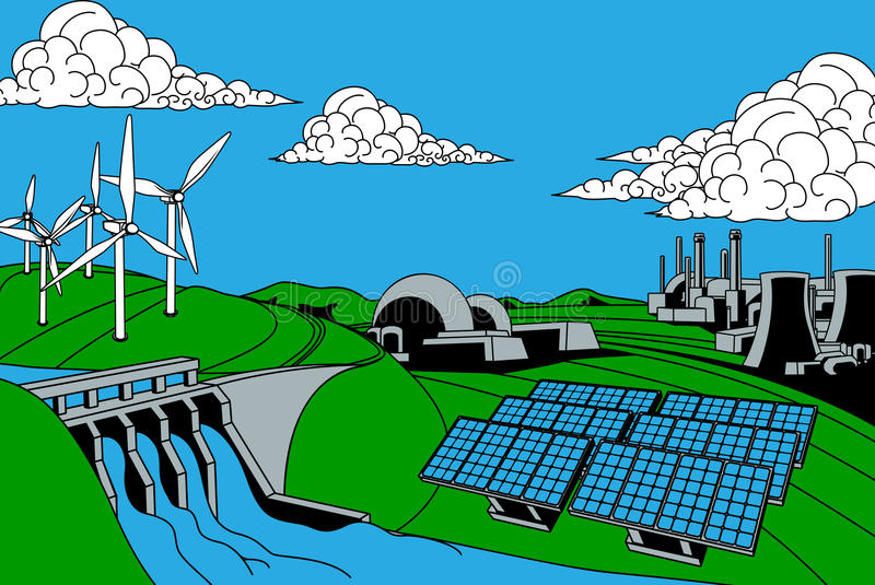 Energy Generation Sources. Power or energy generation sources. Includes renewable sources such as hydroelectric dam, solar and wind also nuclear and coal power vector illustration