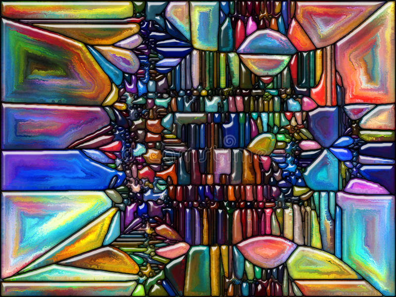 Energy of Glass. Geometry of Color series. Backdrop composed of colorful stained glass pattern and suitable for use in the projects on imagination, creativity royalty free illustration