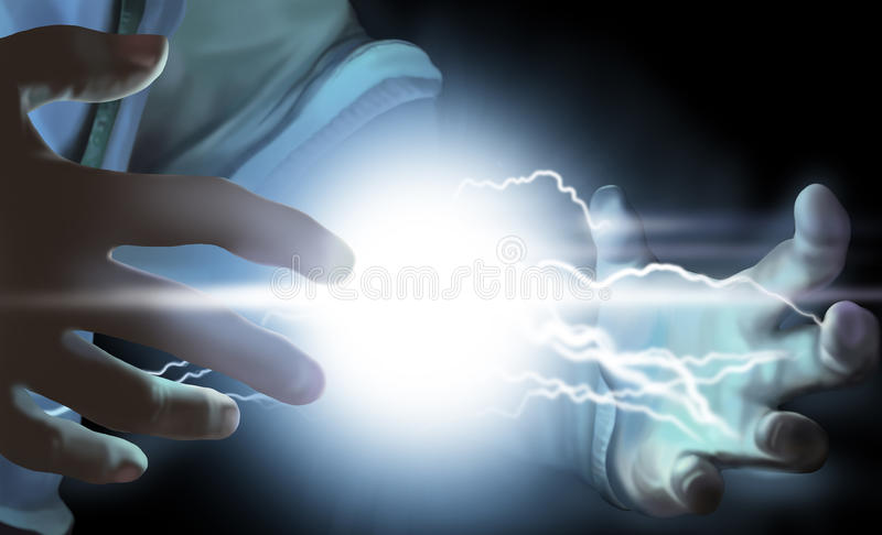 Energy in the hand. Certain energy in the hands stock illustration