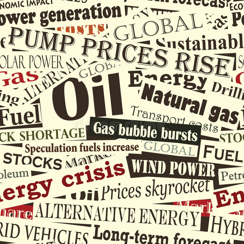 Energy headlines. Editable seamless tile of energy headlines royalty free illustration