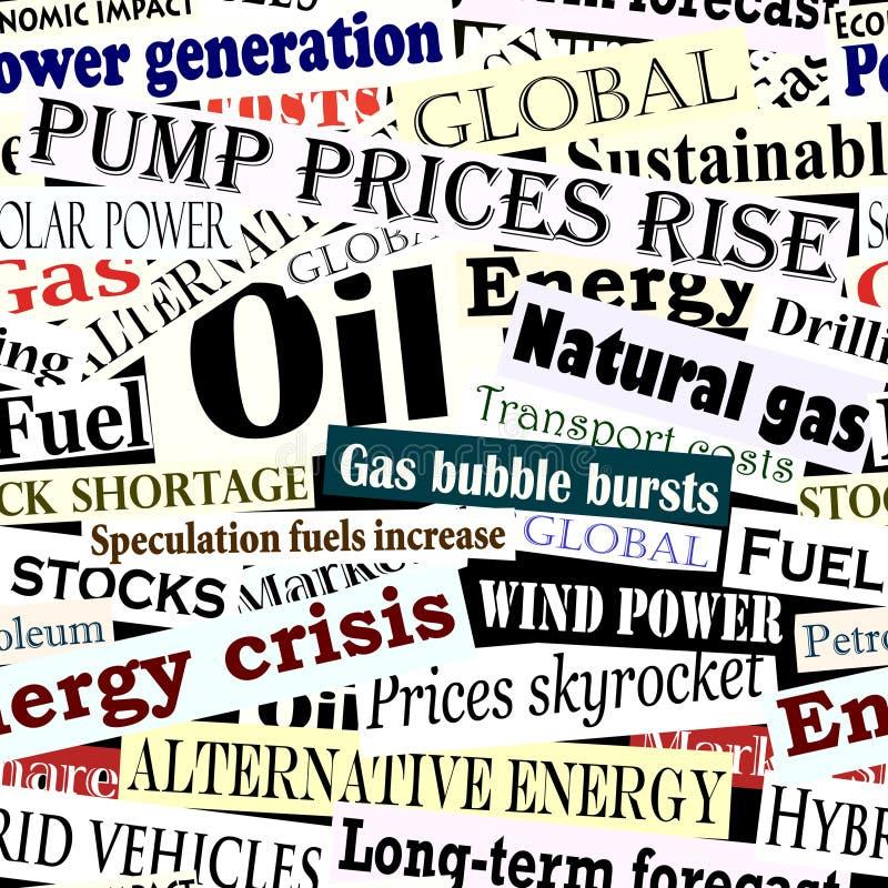 Energy headlines tile. Editable vector seamless tile of energy headlines royalty free illustration