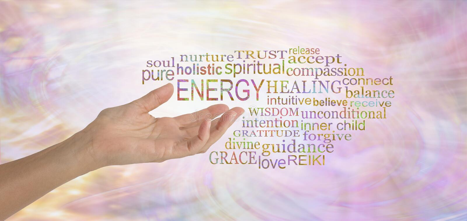 Energy Healing Word Tag Cloud. Female hand gesturing towards the word ENERGY surrounded by a relevant word tag cloud on a pink feminine flowing energy formation royalty free stock photography