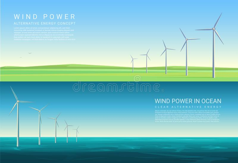Energy horizontal concept backgrounds with wind turbines in green meadow field and ocean sea. royalty free illustration