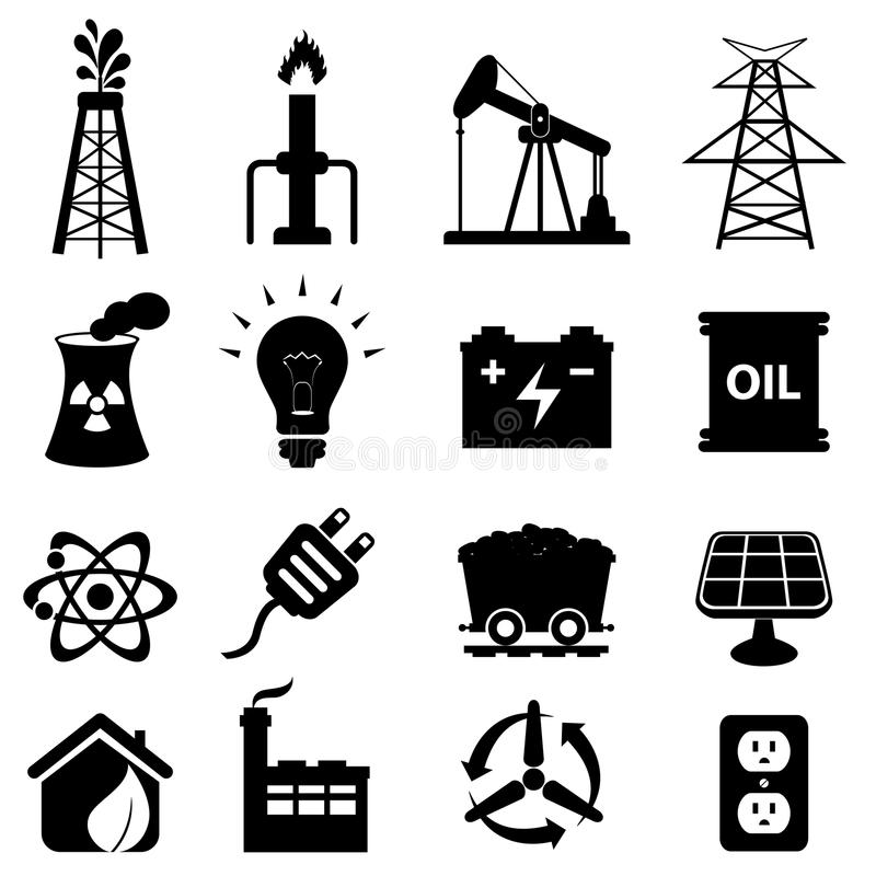 Energy icon set royalty free illustration