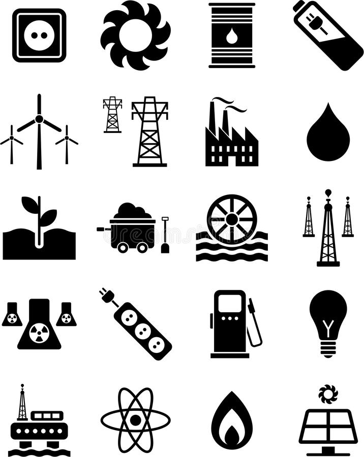 Download Energy icons stock vector. Image of electricity, drop - 24834109