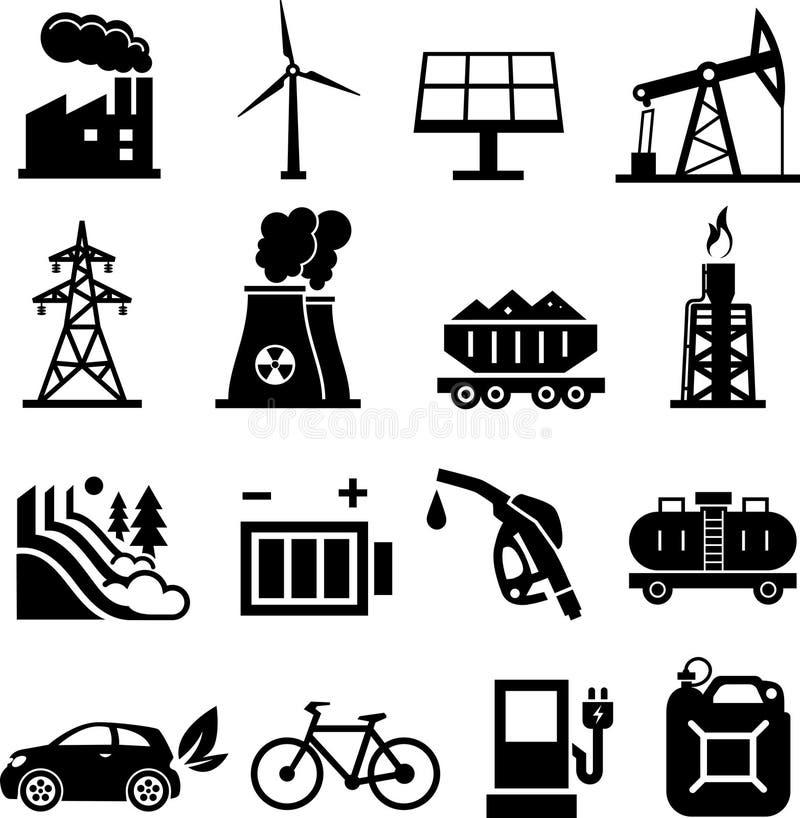Energy icons black stock illustration