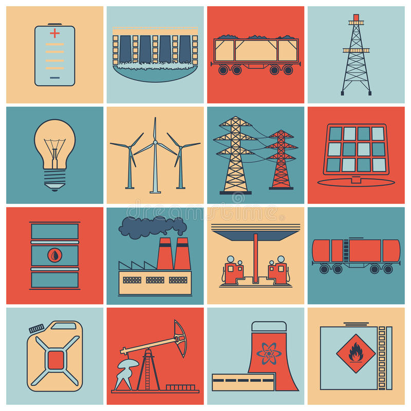 Energy icons flat line set. Energy and environment icons flat line set with gasoline station nuclear plant jerrycan isolated vector illustration stock illustration