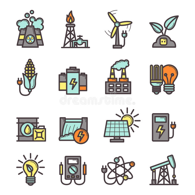 Energy Icons Set royalty free illustration