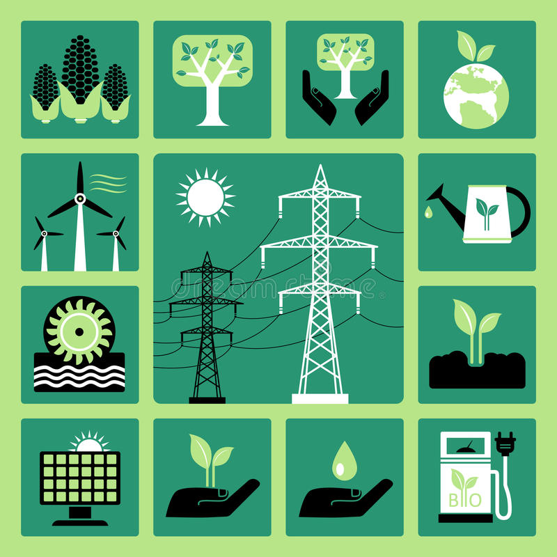 Download Energy icons stock vector. Image of nature, leaves, electric - 42743481