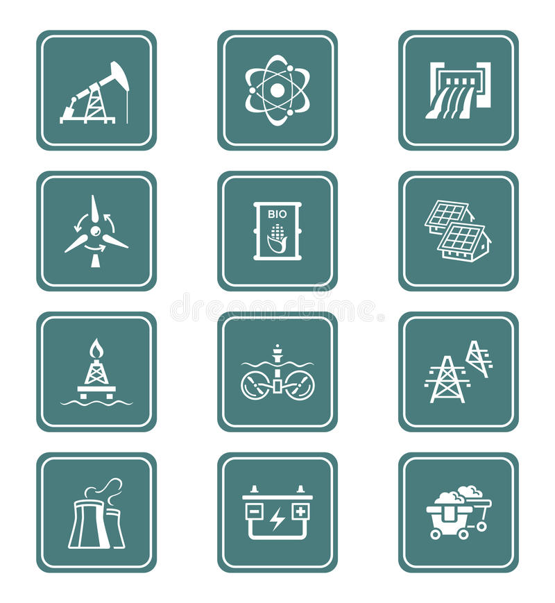 Energy icons || TEAL series. Energy, power and electricity icon-set vector illustration