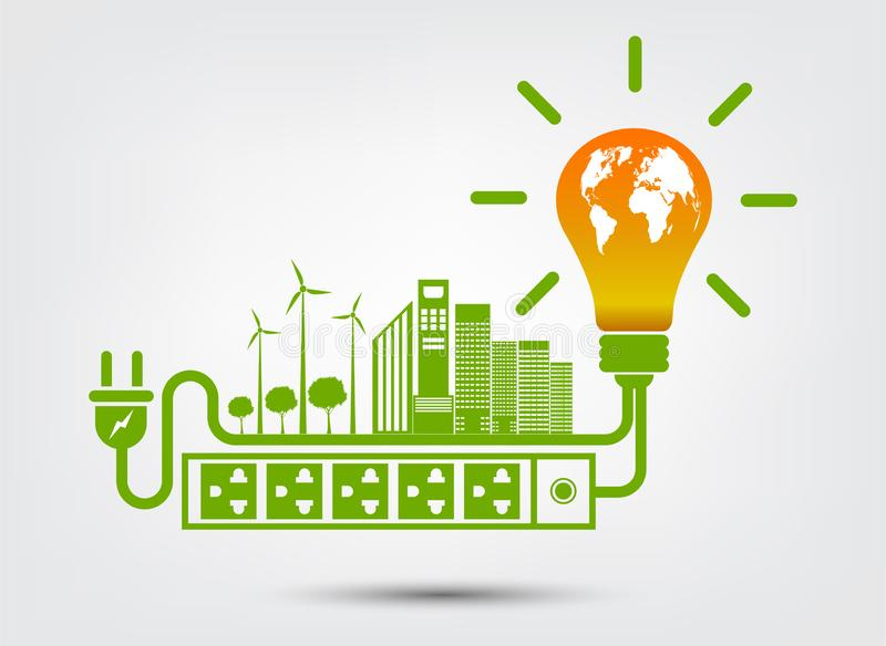 Energy ideas save the world concept Power plug green ecology royalty free illustration