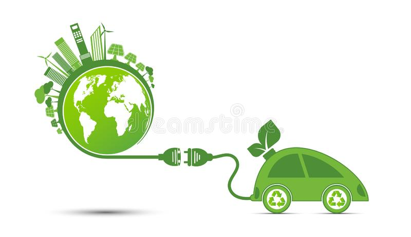 Energy ideas save the world concept Power plug green ecology recycle stock images