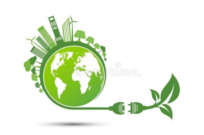 Energy ideas save the world concept Power plug green ecology recycle royalty free stock photos