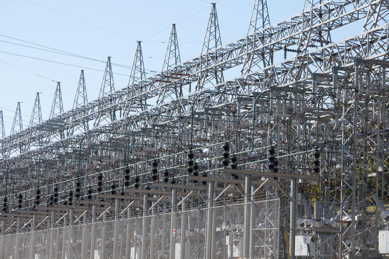 Energy industry electric grid transformer station stock photo