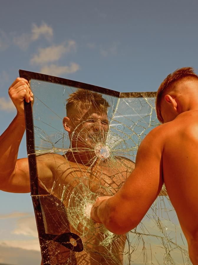 Energy inside him. Twins competitors show muscular strength and power. Strong men increase physical strength. Practice. Competitors train together. Twins men royalty free stock photography