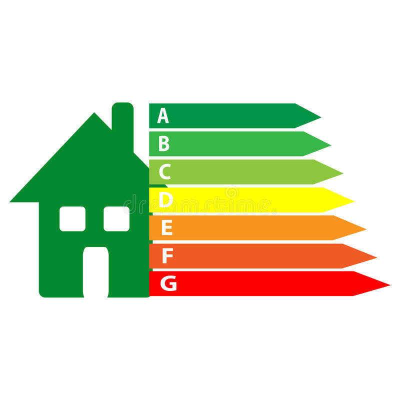 Energy labels with home on white background royalty free illustration