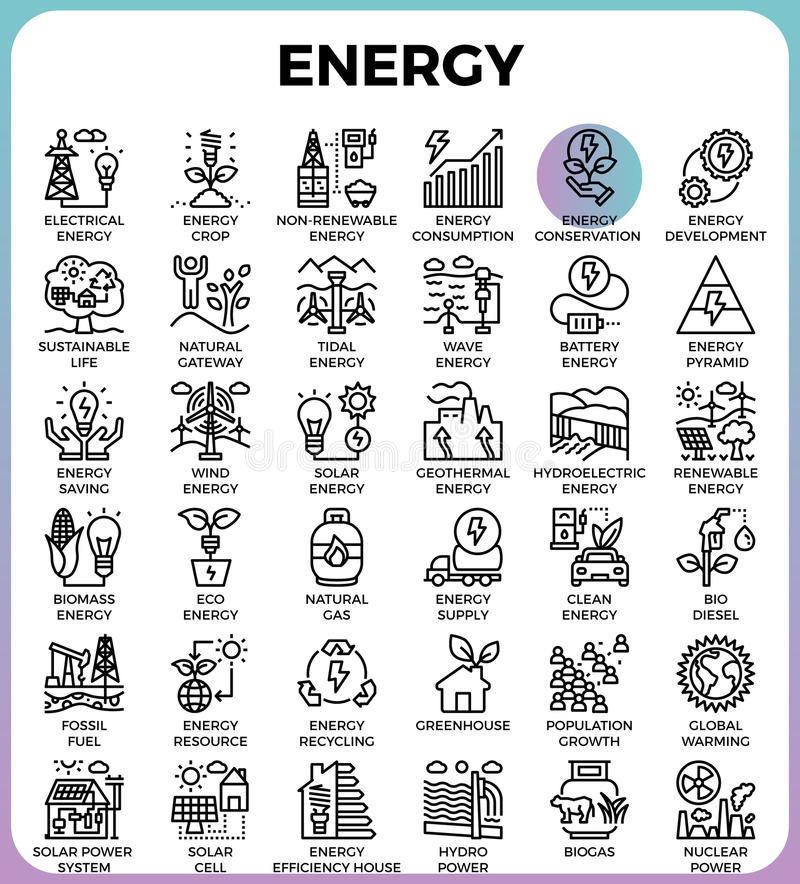 Energy line icons. Energy concept detailed line icons set in modern line icon style for ui, ux, web, app design royalty free illustration