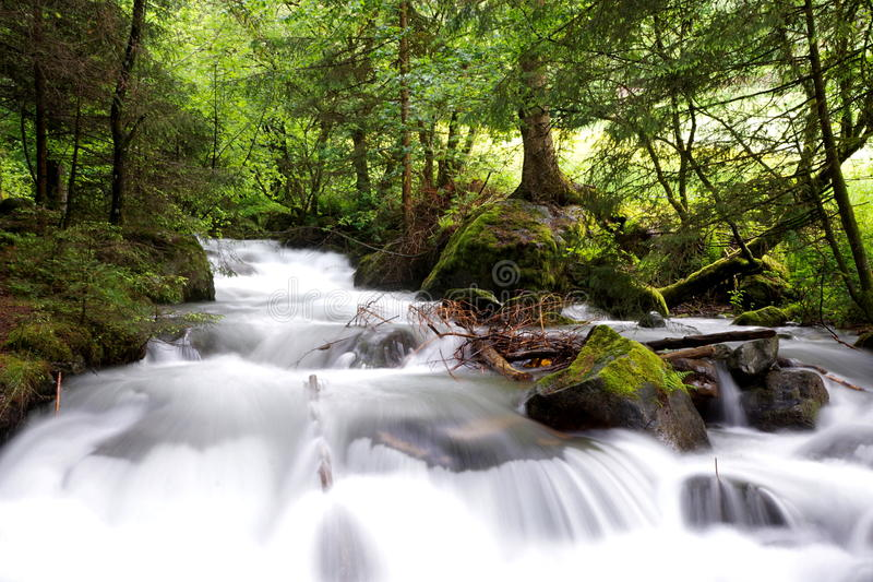 Energy, movement: Moving water, energy, waterfall Stream royalty free stock image