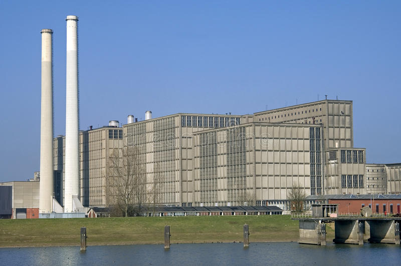 Energy plant Harculo or IJsselcentrale. Netherlands, province Overijssel, dutch region Salland, city Zwolle: still life of modern energy plant Harculo or royalty free stock image