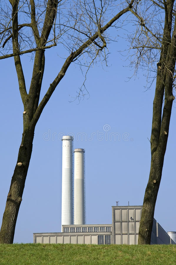 Energy plant Harculo or IJsselcentrale. Netherlands, province Overijssel, dutch region Salland, city Zwolle: still life of modern energy plant Harculo or royalty free stock photos