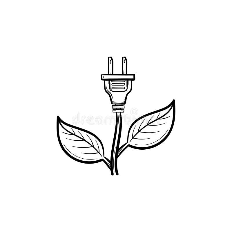 Energy plug hand drawn sketch icon. stock illustration