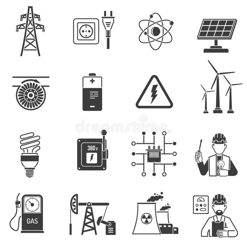 Energy power black icons set. Oil and gas industry energy power production and transmitting symbols black icons set abstract vector isolated illustration vector illustration
