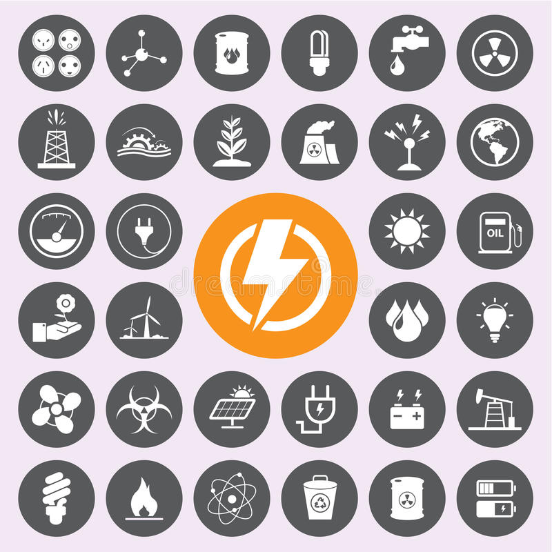 Energy power and environment icon set.Vector/EPS10 stock illustration