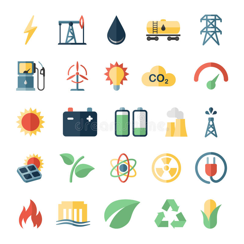 Energy power flat icons set of solar panels wind. Turbine and nuclear plant isolated vector illustration royalty free illustration