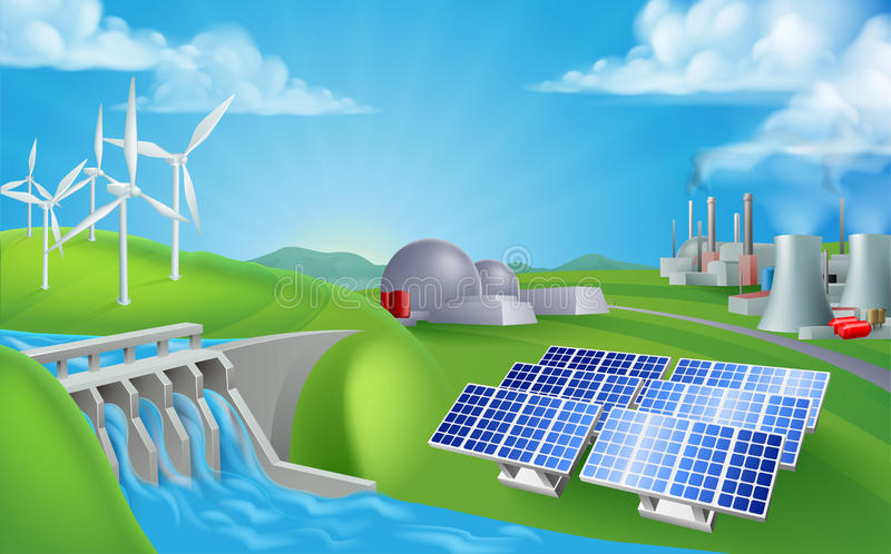 Energy Power Generation Sources. Energy or power generation sources illustration. Includes renewable sources such as hydro dam, solar and wind also nuclear and vector illustration