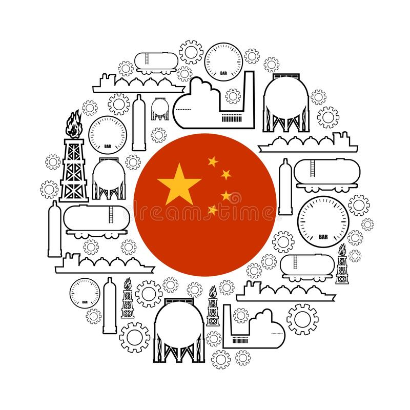 Energy and Power icons. Set. Design concept of natural gas industry. Circle with industrial line icons. Flag of the China stock illustration