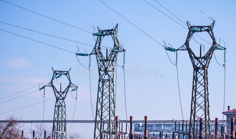 Energy. Power transmission line - power plant, Overhead power line royalty free stock photo