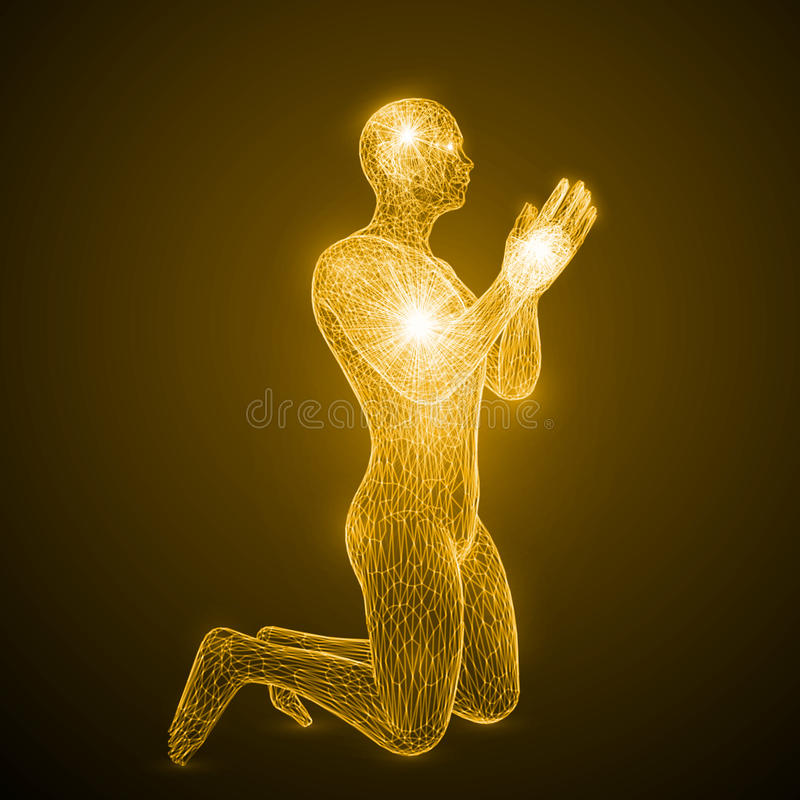 Energy of the praying man. Spiritual energy beams inside head and torso. golden color version stock illustration