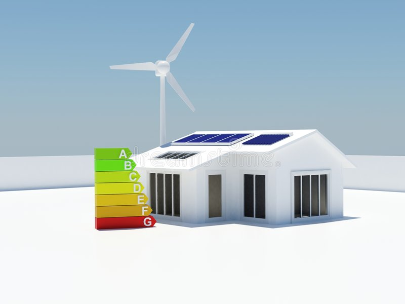 Energy rated eco friendly house stock image