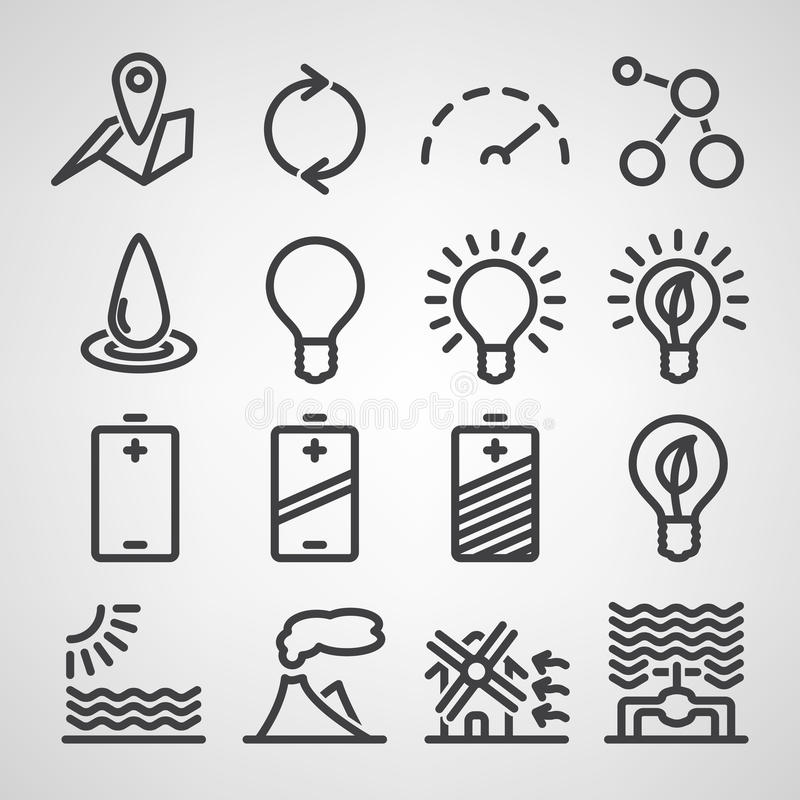 Energy and resource icon set royalty free illustration